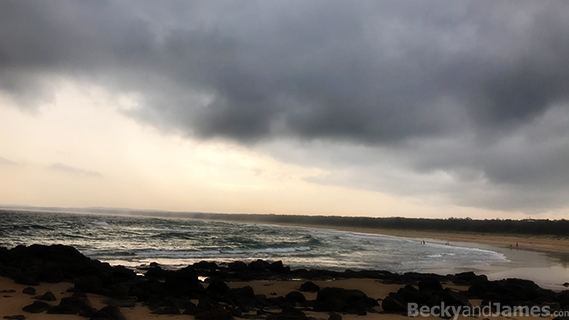 beach, rocks, storm clouds, ocean, waves, swell